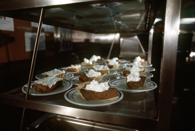 The dessert line in the crew mess aboard the nuclear-powered fleet ballistic missile submarine OHIO (SSBN-726). The OHIO was built by General Dynamics Corp