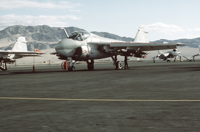 This Marine A-6A Intruder aircraft has just been loaded with bombs. The A-6A aircraft are flying missions in support of Operation CAX 1-2-82 at the Marine Corps Air-to-Ground Combat Center