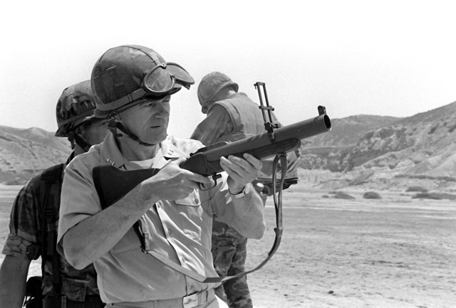 U.S. Commander, South Atlantic, RADM James S. Elfelt, practice fires the M-79 grenade launcher. The admiral was here observing the American and the Peruvian marines during Operation Unitas XXII