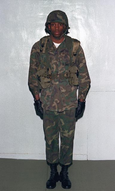 CPL J. J. Blair wears the Marine Corps uniform from the Vietnam Era at the 206th Marine Corps birthday ball
