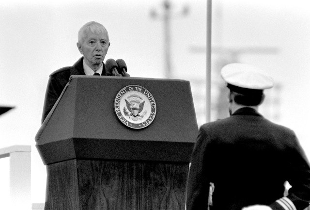 ADM Hyman G. Rickover, deputy assistant secretary for naval reactors, Department of Energy, speaks at the commissioning of the nuclear-powered ballistic missile submarine USS OHIO (SSBN-726). The submarine was built by General Dynamics Corp