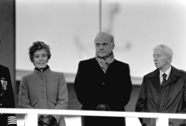 ADM Hyman G. Rickover, right, and Sen. and Mrs. John Glenn (D-Ohio) stand together during the commissioning of the nuclear-powered ballistic missile submarine USS OHIO (SSBN-726). Mrs. Glenn is sponsor of the submarine which was built by General Dynamics Corp