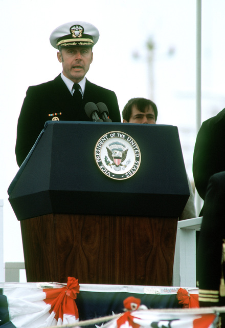 CAPT Arlington F. Campbell, commanding officer (gold crew), speaks at the commissioning of the nuclear-powered ballistic missile submarine USS OHIO (SSBN-726). The OHIO was built by General Dynamics Corp