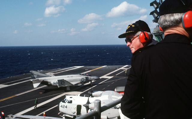 Richard Walker, US ambassador to South Korea, observes flight operations aboard the aircraft carrier USS MIDWAY (CV 41)