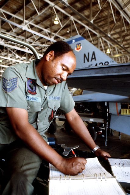 Technical Sergeant (TSGT) Randy Stewart fills out maintenance forms for an F-16 Fighting Falcon aircraft during exercise COPE ELITE '81. TSGT Stewart is from the 428th Tactical Fighter Squadron, 474th Tactical Fighter Wing