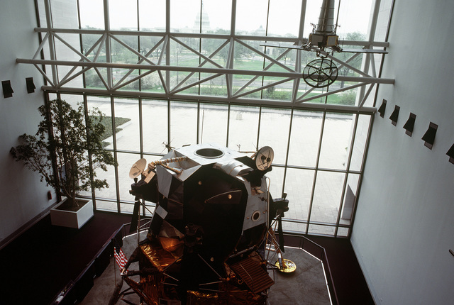 A view of a lunar module in the National Air and Space Museum of the Smithsonian Institution