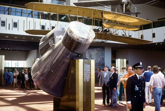 A view of a space capsule at the National Air and Space Museum of the Smithsonian Institute