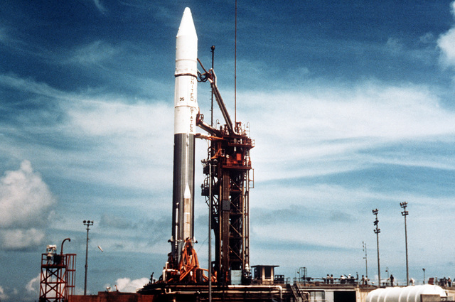 A view of an Atlas-Centaur missile before launch