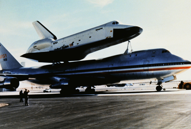 A view of the parked 747 Shuttle Carrier Aircraft with the Enterprise Space Shuttle Orbiter mounted on top