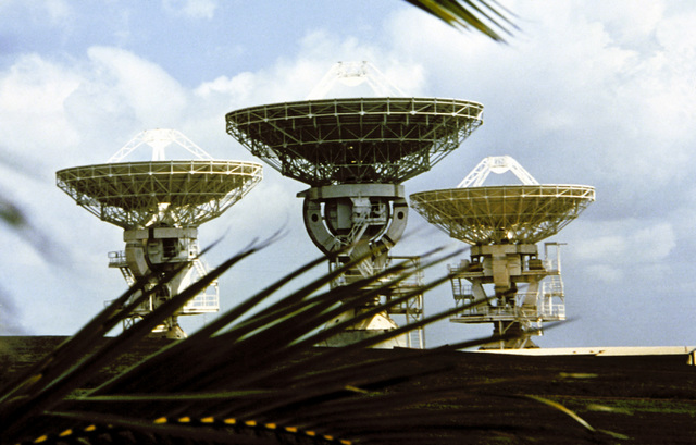 A view of the radar dish antennas in the DCA station