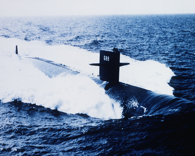 An aerial view of the nuclear-powered attack submarine USS