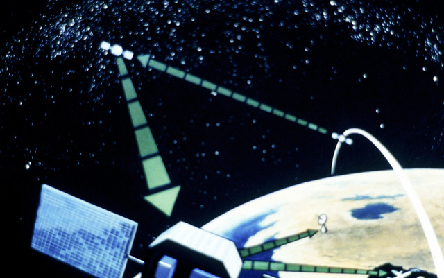 Artist's concept of an advanced laser communications satellite systems in orbit