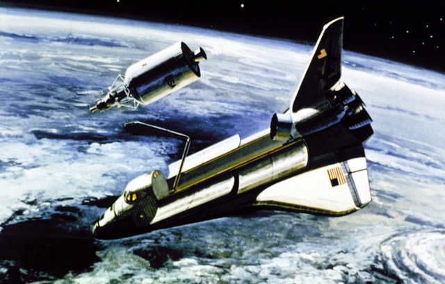 Artist's concept of the Space Shuttle Orbiter deploying a module in orbit, wit the earth in the background