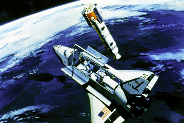 Artist's concept of the Space Shuttle Orbiter deploying the Global Positioning System satellite in orbit, with the earth in the background