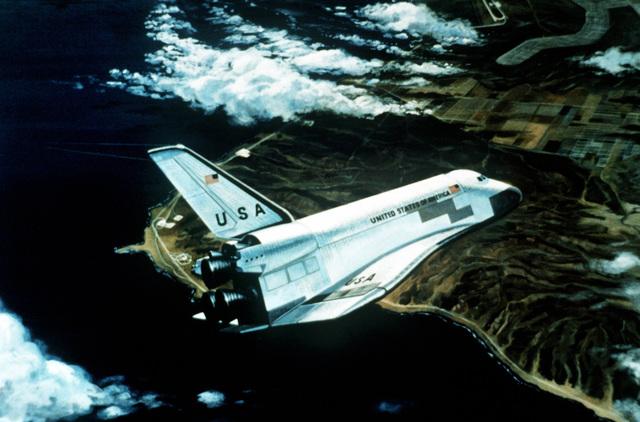 Artist's concept of the Space Shuttle Orbiter in return flight