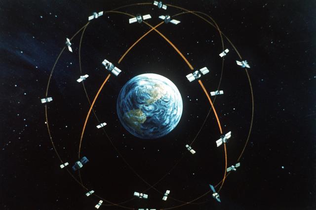 Artist's global concept of the NAVSTAR Global Positioning System Satellite