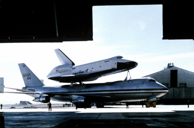 Right side view of the parked 747 Shuttle carrier aircraft with the Enterprise Space Shuttle Orbiter mounted on top
