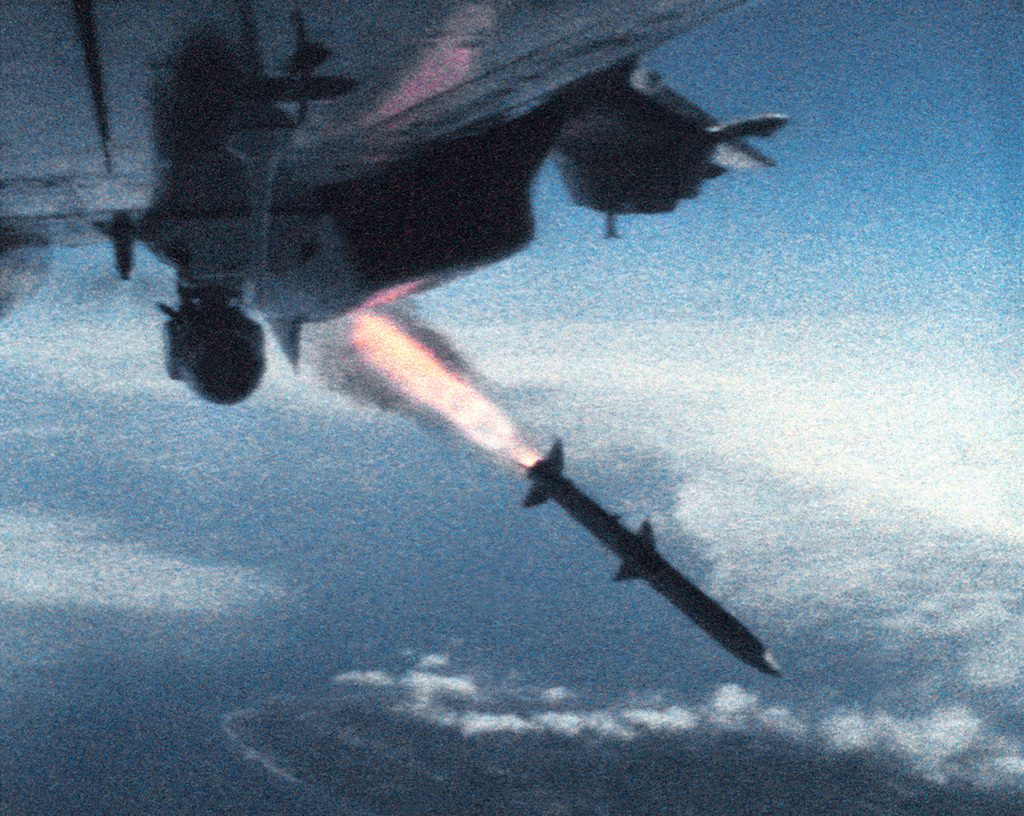 An advanced medium range air-to-air missile (AMRAAM) after its launch from an F-14A Tomcat aircraft, near the Pacific Missile Test Center (PMTC), Point Mugu, California