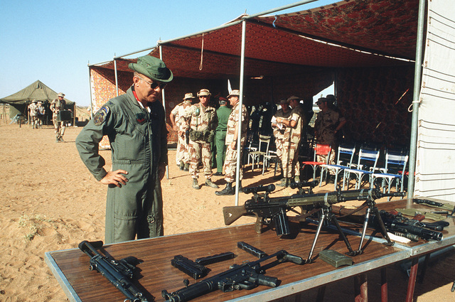 German built 7.62 mm G3 Heckler and Koch rifles are displayed on a table during BRIGHT STAR '82, an exercise involving troops from the US, Egypt, Sudan, Somalia and Oman