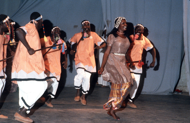 Sudanese dancers perform for participants of Exercise BRIGHT STAR '82, an exercise involving troops from the US, Egypt, Sudan, Somalia and Oman