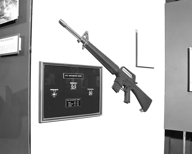 A rifle range display in the War Memorial Marine Corps Museum at the Marine Corps Recruit Depot. Included in the display are an M-16A1 rifle, the three marksmanship shooting badges and the possible scores for each of those badges