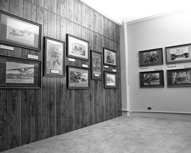 Various paintings of Marine Corps subjects by Marine MAJ Charles Waterhouse are displayed in the War Memorial Marine Corps Museum at the Marine Corps Recruit Depot