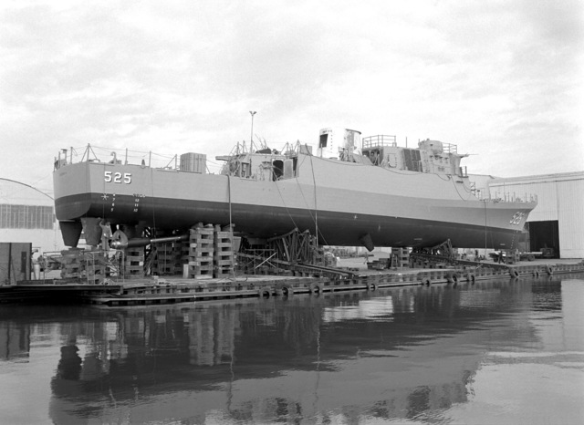 Starboard quarter view of the patrol gunboat OQBAH (PGG-525) on supports one week before launching. The gunboat is being built by Peterson Builders for the Royal Saudi Navy