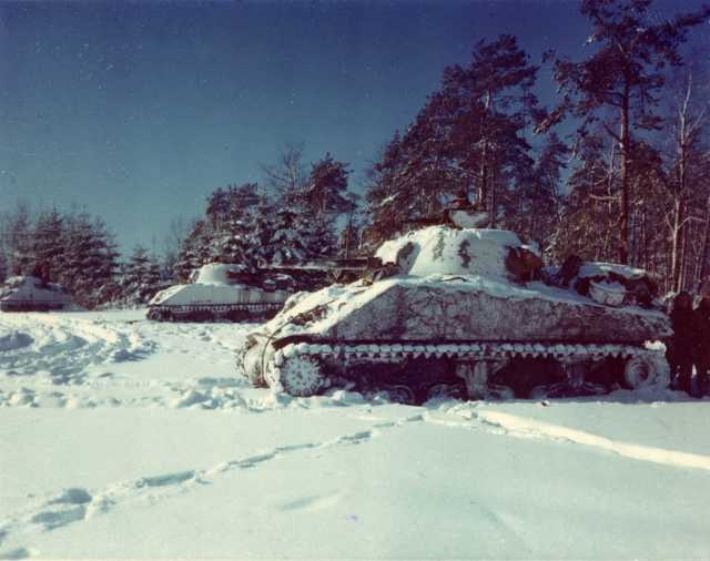 M-4 Sherman Tanks Lined up in a Snow Covered Field, near St. Vith, Belgium