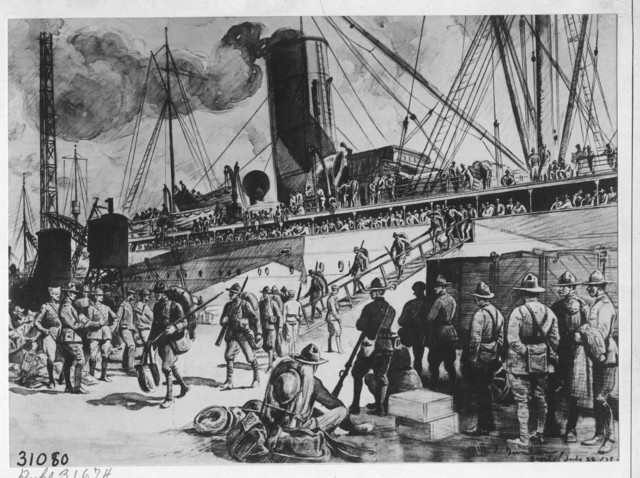 Newly Arrived Soldiers Debarking at Brest