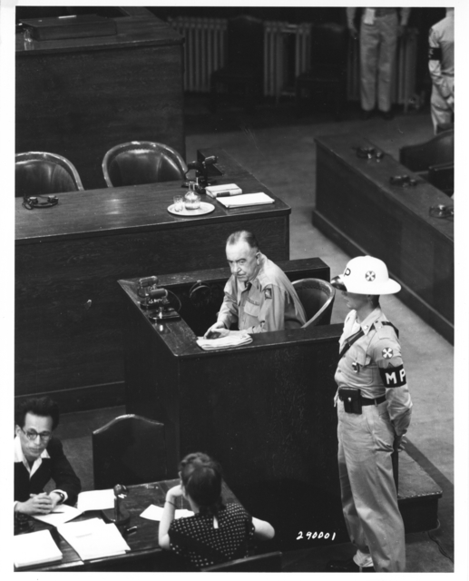 Photograph of Colonel Rufus S. Bratton Appearing as a Witness at the International Military Tribunal for the Far East