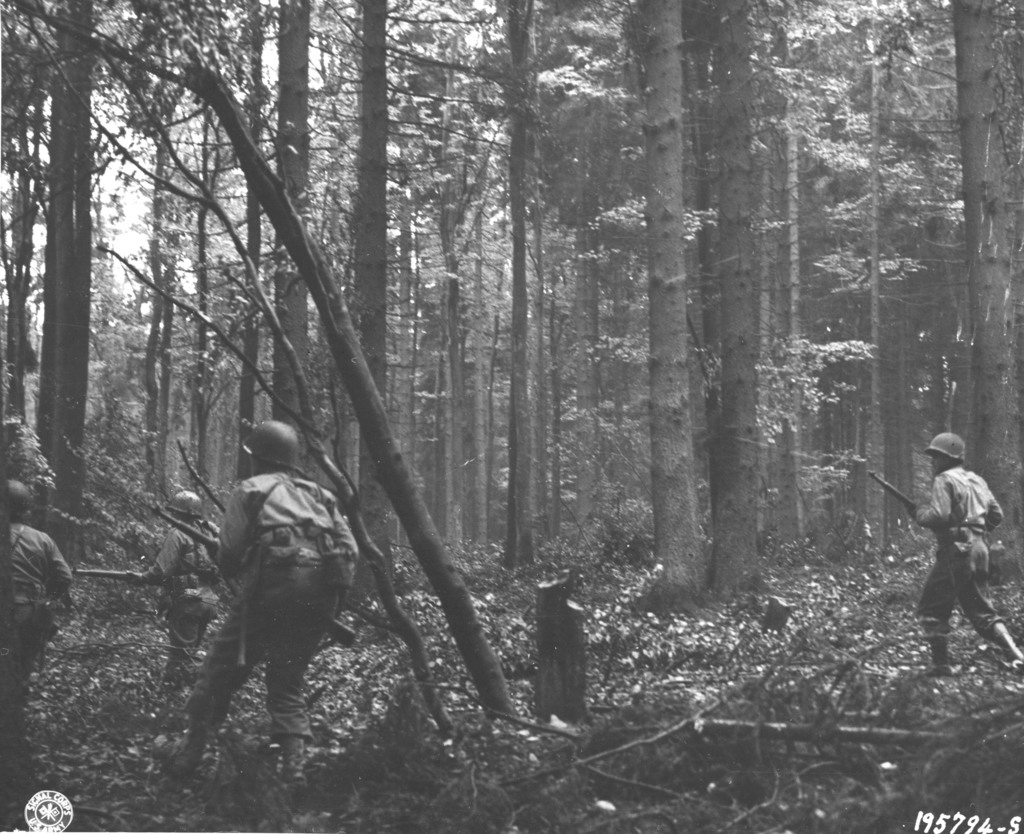 Photograph of Infantrymen Pushing through the Hurtgen Forest in Germany