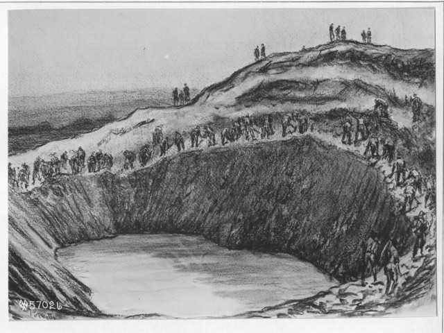 Photographs of the Drawing of a Mine Crater on Road to Varennes