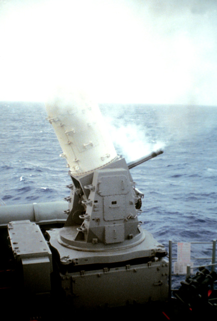 A Mark 15 Phalanx 20mm close-in weapon system (CIWS) is fired aboard the guided missile destroyer USS KIDD (DDG-993) near the coast of Puerto Rico