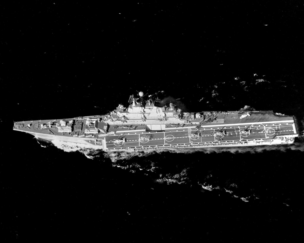 A port beam view of the Soviet Kiev class aircraft carrier MINSK underway