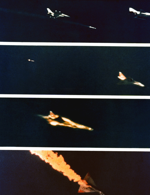 A series of four views showing, from the top, a U.S. Air Force F-16 Fighting Falcon aircraft launching a Hughes advanced medium range air-to-air missile (AMRAAM) past an F-4 Phantom II chase plane; the missile approaching and then exploding a QF-102 target drone; and the target going down in flames