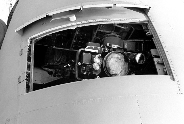 A view of an AC-130H Hercules aircraft TV camera. The aircraft is assigned to the 16th Special Operations Squadron, 388th Tactical Fighter Wing