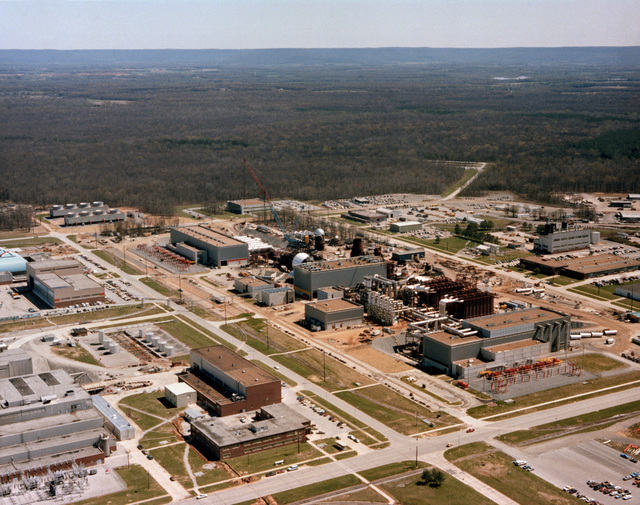 An aerial view of the Aero-propulsion System Test Facility presently under construction at the Arnold Engineering and Development Center. The test facility will provide a more advanced jet engine test capability