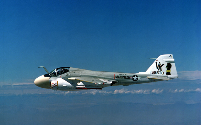 An air-to-air left side view of a Marine A-6E Intruder aircraft from Marine All-Weather Attack Squadron 121 (VMA-AW-121)