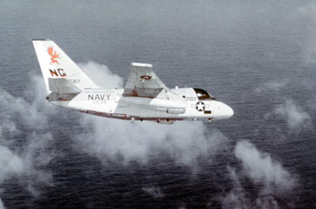 An air-to-air right side view of an S-3A Viking anti-submarine aircraft of Air Anti-submarine Squadron 38 (V-38). The aircraft is flying from the aircraft carrier USS CONSTELLATION (CV-64)