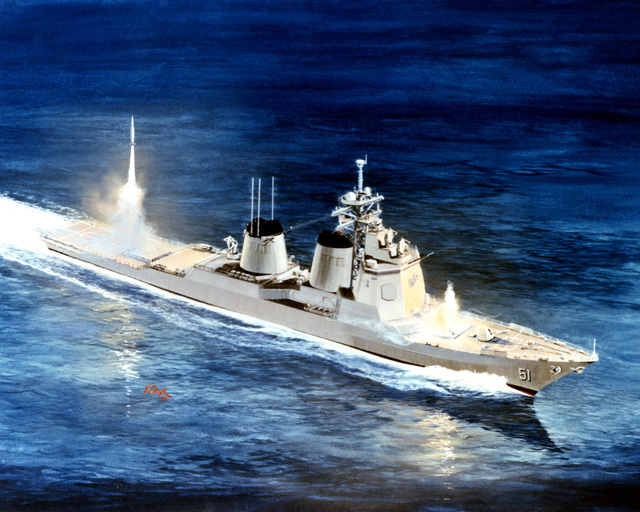 Artist's concept, by Vincent Piecyk, of an experimental guided missile destroyer planned for delivery to the Navy in 1989. Piecyk equips his destroyer with an AGM-84A Harpoon missile, a RIM-67 Standard-MR/SM2 missile, a 5-inch .54-caliber gun and a Phalanx 20mm close-in weapon system (CIWS). In addition, the 1989 destroyer will be equipped with YBGM-109 Tomahawk cruise missiles, advanced lightweight torpedoes and a high-quality anti-air warfare (AAW) system