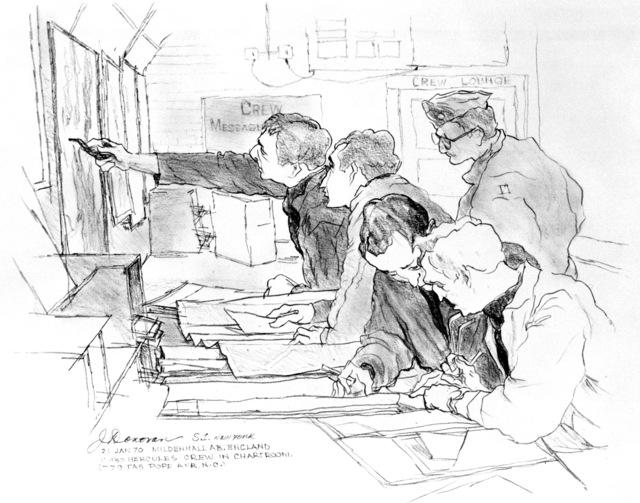 "Artwork: ""Air Crew in the Chart Room"" Artist: Jeremiah Donovan"