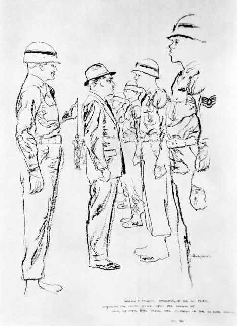 "Artwork: ""Air Secretary Talbott Inspecting Honor Guard at the Air Academy Dedication"" Artist: Henry Koehler"