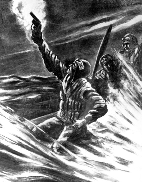"Artwork: ""AIRMAN Down at Sea Shooting a Flare Pistol"" Artist: Schmidt-Effenberger"