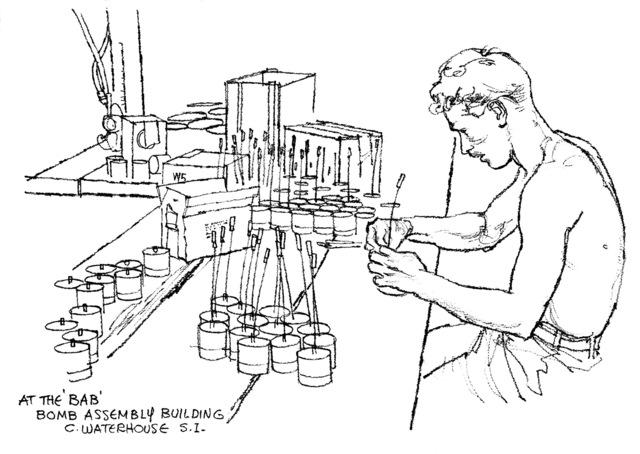 "Artwork: ""Bomb Assembly Building"" Artist: Charles Waterhouse"