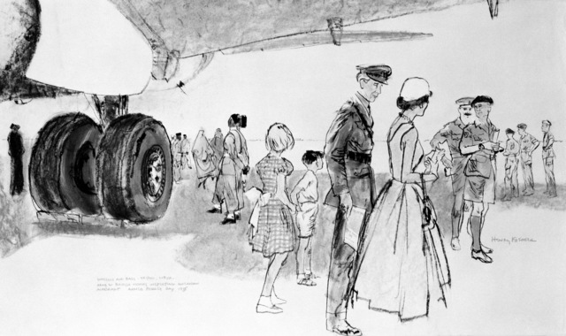 "Artwork: ""British Visitors Inspecting Air Force Aircraft - Armed Forces Day at Wheelus"" Artist: Henry Koehler"