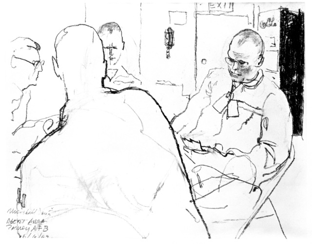 "Artwork: ""Card Game in Alert Area - Ramey AFB"" Artist: Marshall Davis"