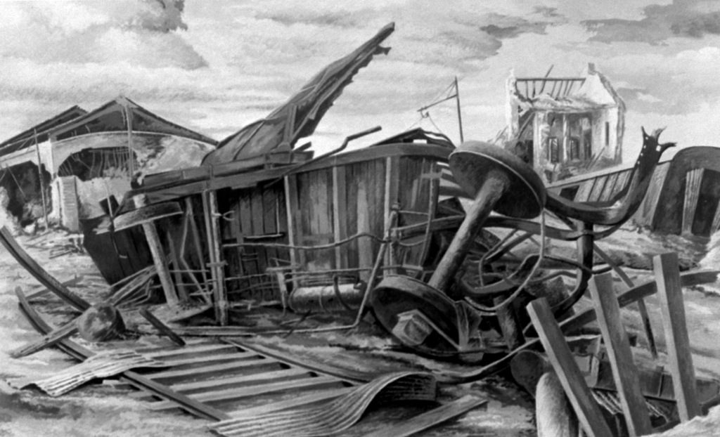 "Artwork: ""Civitavecchia Railroad Station"" Artist: Ludwig Mactarian"