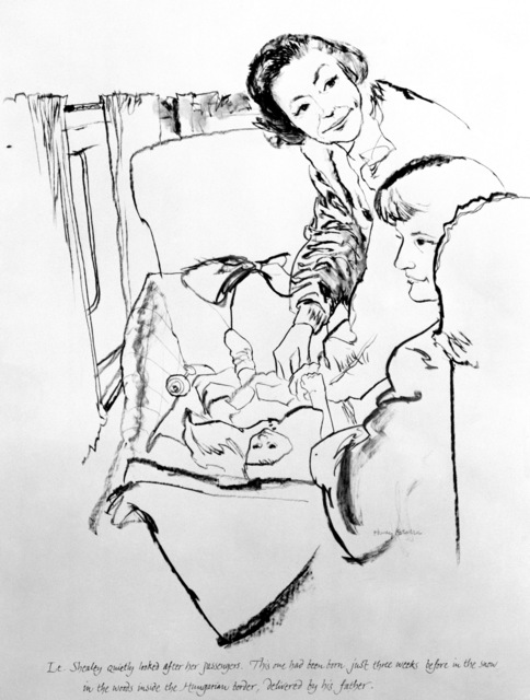 "Artwork: ""Flight Nurse and Her Passengers"" Artist: Henry Koehler"