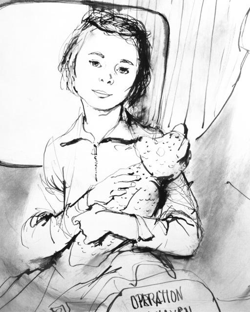 "Artwork: ""Girl With a Teddy Bear - Operation Safe Haven"" Artist: Thornton Utz"