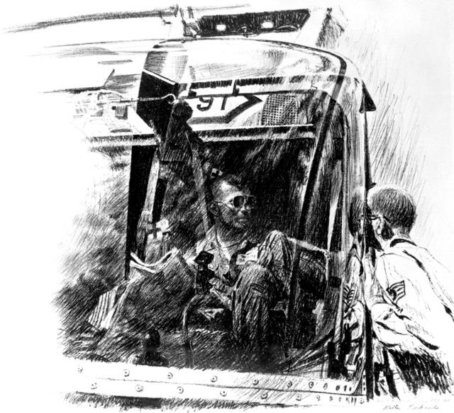 "Artwork: ""Helicopter Pilot - Craig AFB, Alabama"" Artist: Walter Richards"